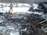 The Iowa DNR worked with a local contractor to cut into the ice and remove woody debris under the ice.
